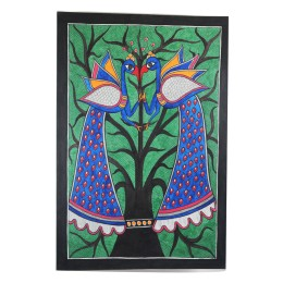 Exclusive Peaccock Pair Madhubani Wall Hanging by Artist from Bihar