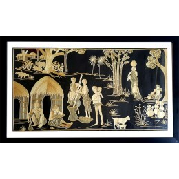 Exclusive Village Scene Sikki Art Wall Hanging by Artisans from Bihar