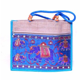 Blue & Beige Kutch work  Jute Carry Bag Strong Handle by Prison Inmates