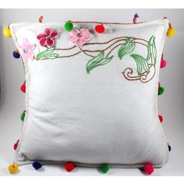 Designer Green & Brown Hand Embroidered Cushion Cover by Women SHGs