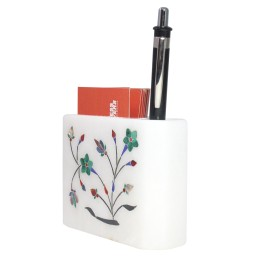 Handmade White Stone Card Holder And Pen Stand By Artisans from Agra