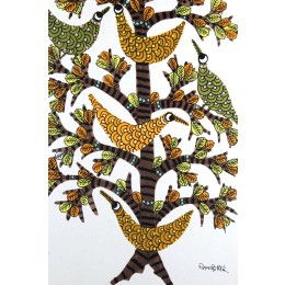 Multicolor Handmade Tree of Life Nature Gond Painting by Tribal Artist