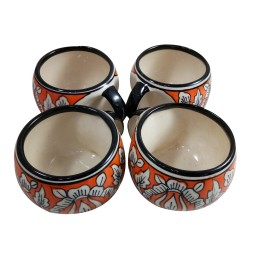 Exclusive Handmade Khurja Pottery Apple Cup Orange & White Cup 4 by Awarded Artisans