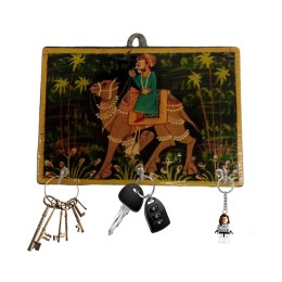 Handmade Excellent Multicolor Wooden Key Hook with Beautiful Rajasthani Art by Awarded Indian Rural Artisan
