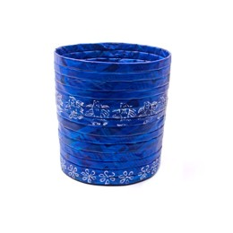 Handmade Recycled Newspaper Blue Cylindrical Basket by Disadvantaged Women