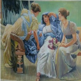 Classy Women on Couch Wall Hanging by Differently Abled Artist