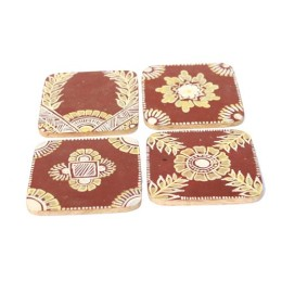Handcrafted Brown Chowk Art Wooden Coasters Set of 4 by Rural Artisans