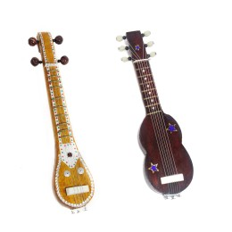 Handmade Crafted Miniature Wooden Veena + Guitar (Decorative Showpiece Gift / Does Not Play Sound)