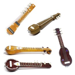 Handmade Crafted Miniature Wooden Veena + Sitar + Esraj + Guitar + Sarod (Decorative Showpiece Gift / Does Not Play Sound)