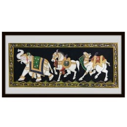 Multicolored (Natural Stone Color) Miniature Painting on Silk of Decorated Elephant, Horse & Camel by Rajasthani Artist