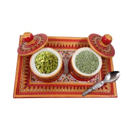 Exclusive Handmade  Multicolor Plate, 2 Box  & Spoon set  Meenakari Marble Art by Artisan from Rajasthan