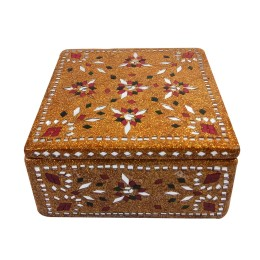 Exclusive Handmade Gold Lac, Mirror Jewelry Box  by Artisan from Rajasthan