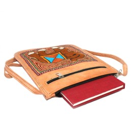 Smart Leather Embroidered Stylish Medium Travel Bag by Artisans from Rajasthan