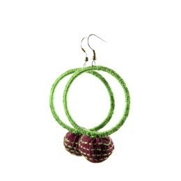 Light Green Big Round Thread Work Earrings   by Disadvantaged Youth & Women in Rural Faridabad