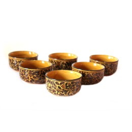 Exclusive Handmade Khurja Pottery set of 6 Deep Bowl by Awarded Artisans
