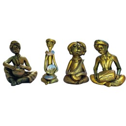 Handmade Metal Figurines Statues Set of 4 by India Meets India