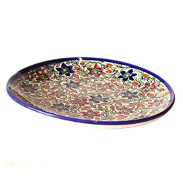 Exclusive Handmade Khurja Pottery Colourfull Flower Plate Wall Decorative Plate by Awarded Artisans